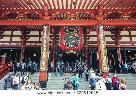 Tokyo, Japan - May 10 : Crowded People Visiting To Sensoji Temple (asakusa Temple) The Famous And Ol