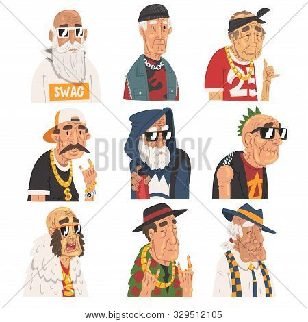 Fashion Senior Men Set, Old Man Characters Wearing Trendy Clothes Vector Illustration