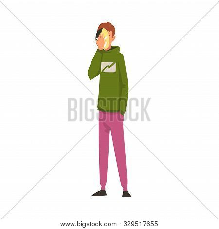 Man Covering His Face With Mask, Guy Hiding His Personality Or Individuality To Conform To Social Re