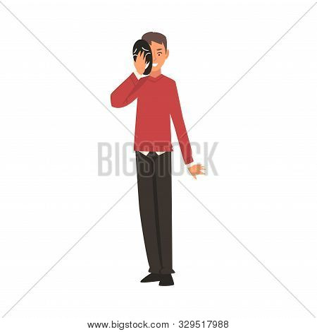 Young Man Covering His Face With Mask, Man Hiding His Natural Personality Or Individuality To Confor