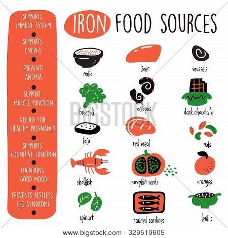 Iron Food Sources And Health Benefits. Infographic Poster. Vector Design.