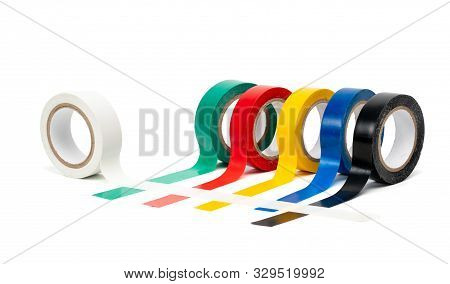 Rolls of insulation adhesive tape, multi colored ribbons on a white background poster