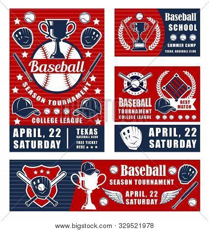 Vector Baseball Player Tournament, Sport Champion Winner Cup, Batter Bat, Glove And Ball. Baseball G