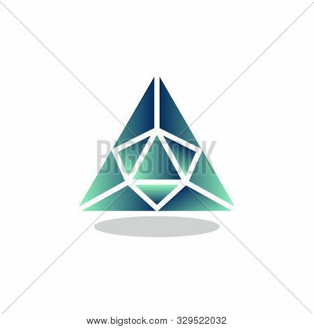 Triangle Precious Stone Flat Icon, Vector Sign, Emerald Crystal Colorful Pictogram Isolated On White