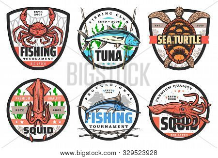 Fishing Club, Big Fish And Catch Tournament Icons Or Labels. Vector Fisher Equipment Tackles, Rods A