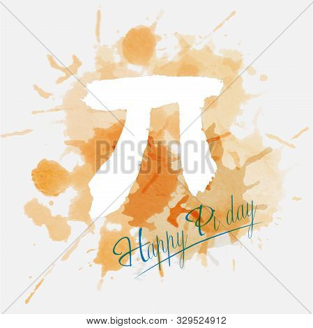 Happy Pi Day. March 14th. Constant Number Pi. Watercolor. Vector Illustration.