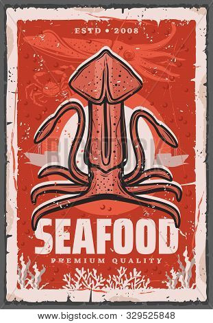 Squid Fishing, Seafood And Fish Gourmet Restaurant Retro Poster. Vector Ocean And Sea Fishery Indust