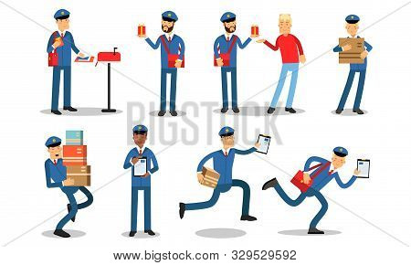 Mailman In Different Daily Postoffice Actions. Delivery Letters, Heavy Parcels And Gifts. Vector Ill
