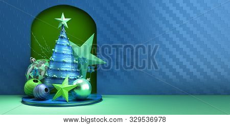 New Year Christmas Blue Minimalistic Decorative Background 3d Render