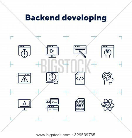 Backend Developing Line Icon Set. Set Of Line Icons On White Background. Technology Concept. Program