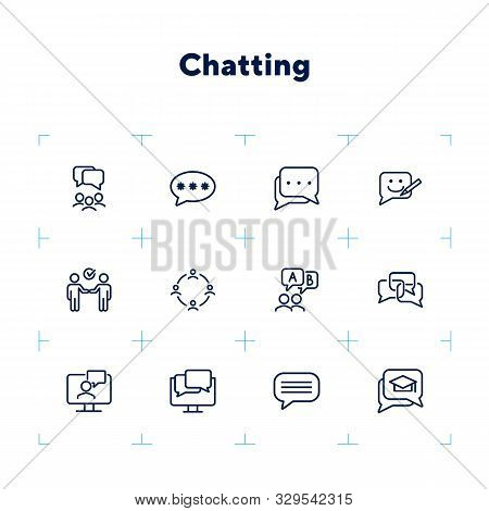 Chatting Line Icon Set. Speech Bubble, Deal, Messenger. Communication Concept. Can Be Used For Topic