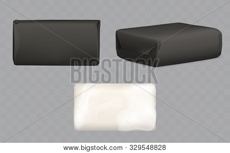 Soap Bars Set, White Lather Piece With Foam And Wrapped In Black Paper Package Mock Up Top And Side