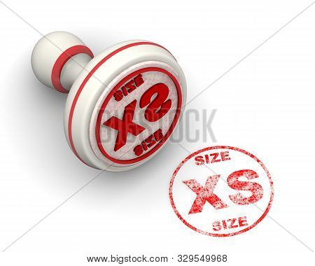 Clothing Size Is Xs. Seal And Imprint. The Seal And Red Imprint Size Xs On White Surface. Isolated.