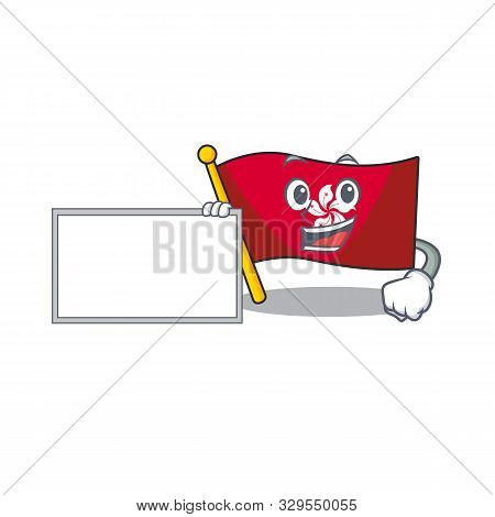 With Board Flag Hongkong Cartoon Isolated The Character