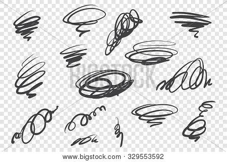 Black Curly Scribble Vector Illustrations Set. Messy Ink Pen Strokes, Twirling Scrawls Pack. Swirlin