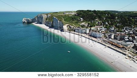 Sunny Day At The Beach In Etretat, Normandy France