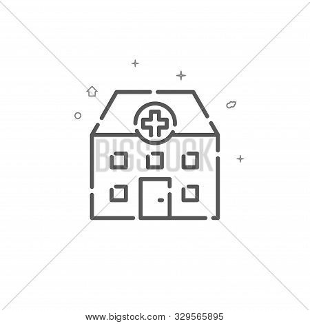 Hospital, Infirmary Simple Vector Line Icon. Medical Station Symbol, Pictogram, Sign. Light Backgrou