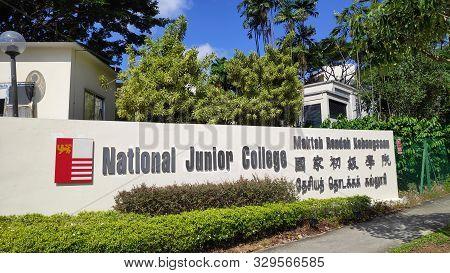 Singapore- 5 Oct, 2019: Entrance Of National Junior College In Singapore. National Junior College Is