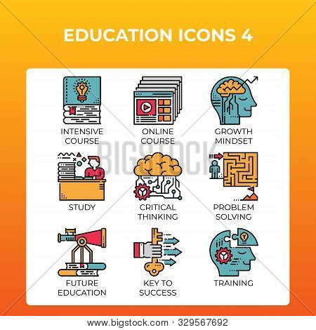 Education Concept Icons Set In Modern Line Icon Style For Ui, Ux, Web, Mobile App Design, Etc.