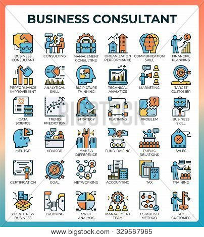 Business Consultant Icon Illustration Set In Modern Line Icon Style For Ui, Ux, Website, Web, App Gr