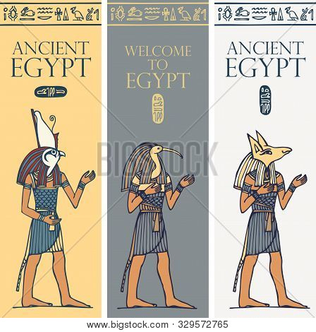 Set Of Vector Banners With Egyptian Gods And Deities - Horus, Thoth, Anubis, . Advertising Posters O