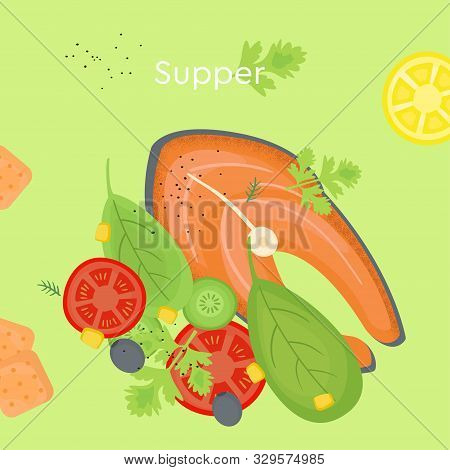 Delicious Supper With Fish And Salad. Doodle Color Illustration Of Food For The Day
