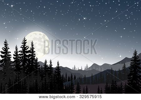 Panorama Landscape Of Starry Night With Full Behind Mountain And Pine Tree, Panoramic The Full Moon