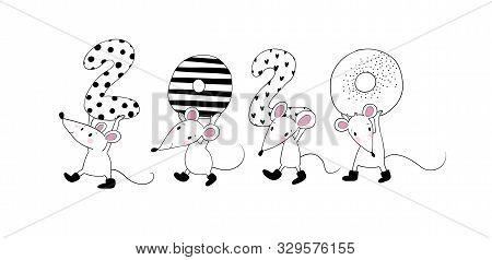 Cute Cartoon Rats. Greeting Card. Chinese Zodiac Sign Year Of Rat. New Year 2020. Animal Cartoon Cha