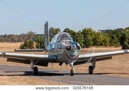 Tyabb, Australia - March 9, 2014: Former United States Air Force (usaf) Beechcraft T-34 Mentor Singl