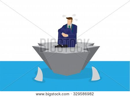 Metaphor Of Stress Businessman Alone On An Island Surrounded By Sharks. Concept Of Corporate Crisis,
