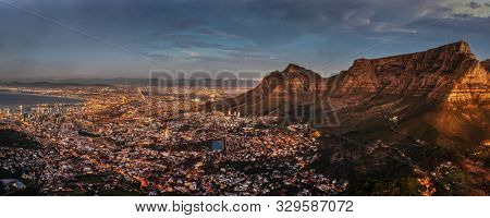 An aerial view of the legislative capital of South Africa, the scenic Cape Town at night