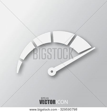 Speedometer Icon In White Style With Shadow Isolated On Grey Background.