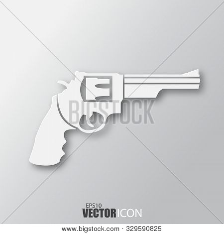 Revolver Icon In White Style With Shadow Isolated On Grey Background.