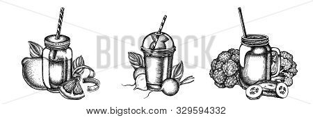 Flower Bouquet Of Black And White Lemons, Broccoli, Radish, Basil, Smoothie Cup, Smothie Jars, Cucum