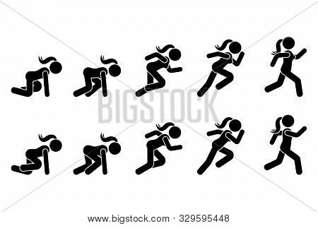 Stick Figure Runner Sprinter Sequence Icon Vector Pictogram. Low Start Speeding Woman Sign Symbol Po