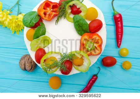Appetizing Cake With Chicken Meat, Eggs And Salad. Snack Appetizing Cake. Wooden Board With Hot Pepp