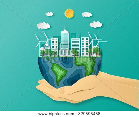 Eco Friendly Concept. Environmental With City And Tree On Earth In Paper Cut Style. Vector Illustrat