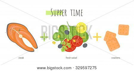 Supper Time Which Consists Of Fish, Salad And Crackers. Isolated Cartoon Dishes. Doodle Color Set Of