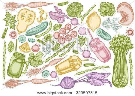 Vector Set Of Hand Drawn Pastel Lemons, Broccoli, Radish, Green Beans, Cherry Tomatoes, Beet, Greene
