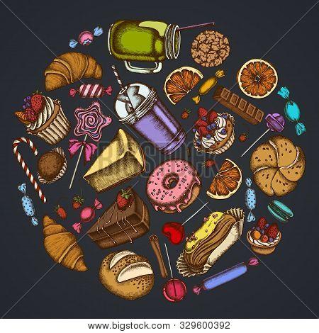 Round Floral Design On Dark Background With Cinnamon, Macaron, Lollipop, Bar, Candies, Oranges, Buns