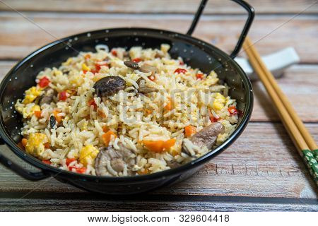 Chinese Stirfry Rice With Vegetables And Mushroom