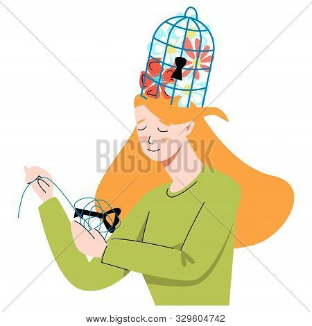 Vector Flat Metaphor With Woman Who Unwinds Ball In Which Key Is Hidden From Cage That Is Located On