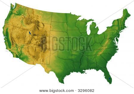 USA-Karte mit terrain