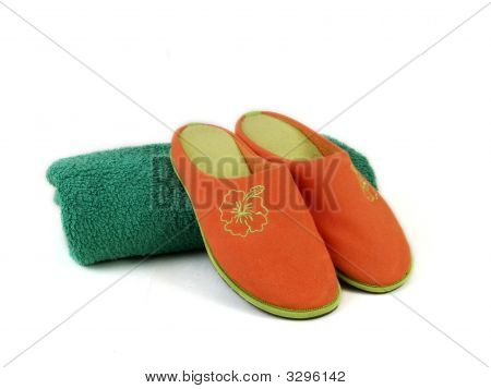 Carpet Slippers And Towel 2