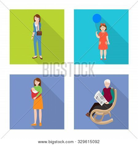 Vector Design Of Generation And Happy Icon. Set Of Generation And Avatar Stock Symbol For Web.
