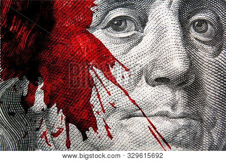 American Banknote With Stylized Red Blood Splatter Closeup