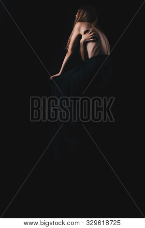 A Girl With A Bare Back, Severe Thinness And Protruding Ribs. The Concept Of Anorexia And Bulimia, A