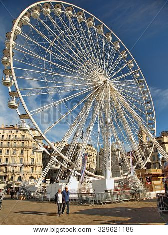 France, Marseille - November 19, 2018: Tradishional Christmas Market With Ferris Wheel In Old Port (