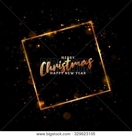 Christmas Light Vector Background. Happy Hew 2020 Year. Vector Golden Frame With Lights Effects. Abs
