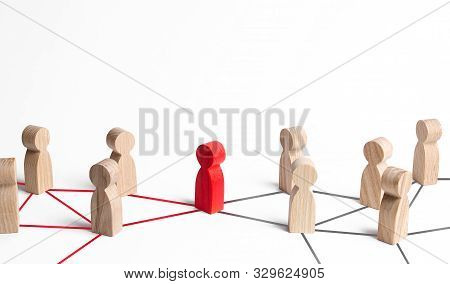 People's Communication Network Is Connected Through One Person. Mediator And Pick. Obstruction Of Wh